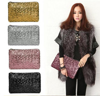 Wholesale Sparkle Spangle Clutch - 2016 fashion Dazzling Sequins Women Ladies Sparkling Bling Sequin Clutch Purse Evening Party Handbag Bag Glitter Spangle Day free DHL