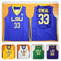 Wholesale Tiger Sleeveless Shirt - HOT NCAA LSU Tigers College 33 Stitched Shaquille O'Neal embroidery jerseys Jersey SHIRTS cheap sport basketball retro THROWBACK wholesale