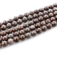 Wholesale Gold Crystal Snowflake Charm - 4 6 8 10 mm Snowflake Brown Round Natural Stone Beads 15'' Jewelry Making handmade Jewelry bracelet making DIY