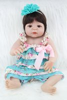 Wholesale Cheap Silicone Doll - 55cm Full body silicone reborn baby girl doll toys lifelike newborn princess babies doll for sale cheap kids gifts bathe toy