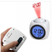 Wholesale Talking Lcd Projection Alarm Clock - New LCD Projection Voice Talking alarm clock backlight Electronic Digital Projector Watch desk Temperature display Q0089