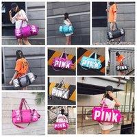 Wholesale Wholesale Luggage Bag - 10 Colors Pink Duffel Bags Unisex Travel Bag Waterproof Victoria Casual Beach Exercise Luggage Bags Canvas Secret Storage Bag CCA7115 20pcs