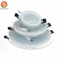 dimmable conduziu luz de teto redonda venda por atacado-20 pcs Regulável Painel LED Downlight 6 W 12 W 18 W Rodada de teto de vidro luzes embutidas SMD 5730 Branco Frio Quente levou Luz AC85-265V