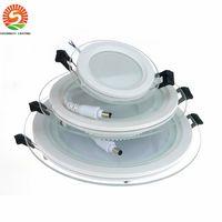 luz del panel llevada redonda de 6w al por mayor-20pcs Panel LED regulable Downlight 6W 12W 18W Luces empotradas en el techo de vidrio redondo SMD 5730 Luz LED cálida blanca fría AC85-265V