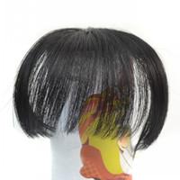 clip knallt vorne großhandel-Sara Ordentlich Pony Clip in auf Pony Fransen Front Hair Extensions 10 * 14CM Frange Janet synthetische Haarteile Pony Haarteile