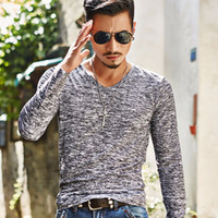 Wholesale Wholesale Fitted V Neck Shirts - Wholesale- 2017 Spring Autumn Winter Men Tops Fashion V-Neck Slim Fit Long Sleeve T-Shirt Men Trend Sexy Casual Men T-Shirt Korean T-Shir