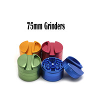 Wholesale Paper Cut Roll - Big Grinders 75mm Grinders Aluminium Alloy Fours Layers Herb Grinders Tobacco Grinder Rolling paper Grinder Fast Cutting Tobacco