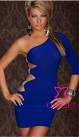 Wholesale Sexy Mini Wrap Dress - One shoulder sexy women dress summer hollow out slim hip wrapped party night club dresses blue pink black