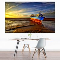 Wholesale wall decor panels beach - ZZ1237 modern canvas posters and prints art sailboat beach seascape canvas oil art painting wall pictures for livingroom decor