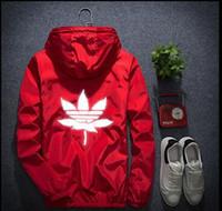 Wholesale Men S Large Jackets - New kanye off white justin latest burst trend men and women models maple leaf reflective sweater long sleeve suprem jacket large size S-7XL