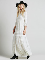 boêmio até o chão vestido maxi venda por atacado-A linha preto e branco 2019 mulheres boho dress bohemian até o chão maxi bordado preto branco dress com vestidos de manga comprida roupas