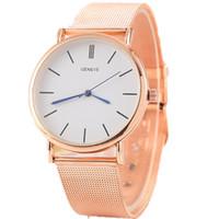 Wholesale Wholesale Watch Belts - fashion unisex mens womens mesh belts alloy watch geneva luxury ladies metal 2017 wholesale dress quartz watches for men