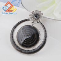 Wholesale Vintage Cloisonne Enamel Necklace - Hot circular pendant necklace vintage jewelry black glazed transparent fashion designer jewelry free shipping