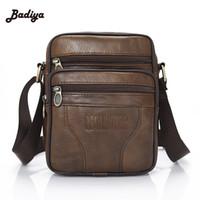 Wholesale News Fashion Designers - Wholesale- Brand Designer Brown Shoulder Handbags 2016 News Genuine Cowhide Leather Men's Bag Vintage Male Men Messenger Bags
