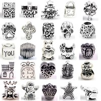 Wholesale Charm Bracelet Beads Bulk - Silver Beads Charms for Bracelets 30 Designs DIY Jewlery Making European Big Hole Loose Beads Styles Bulk