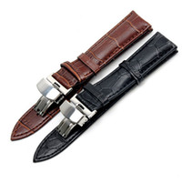 Wholesale Watch Butterfly Clasp - 19mm For PRC200 T17 T41 T461 High Quality Silver Butterfly Buckle + Brown   Black Genuine Leather Watch Bands Strap