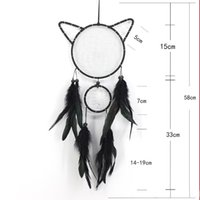 Decorazione del partito di Halloween Catcher di sogno del gatto nero con le piume Wind Chime Wall Hanging Carft Dreamcatcher Handmade Heme ornamento di decorazione
