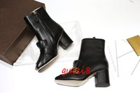 Wholesale Pu Party Boots - Tassel Fringe Gold Belt Booties Female High heels Real leather Black T Show Party Boots Women