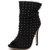 Wholesale Hedgehog Shoes - Wholesale-Punk Rock Hedgehog Gladiator shoes Rivets Summer Ankle Boots Womens Peep Open Toe High Top Sandals High Heel Pumps Clubwear