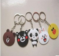 Wholesale Exquisite Keychain - best gift new 4-4. 5cm key chains exquisite modelling panda bear Pendant animal rubber gift creative cartoon PVC soft Keychain key rings