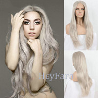 Wholesale Celebrity Heat - Long Grey Synthetic Lace Front Wig Celebrity Style Ladygaga's Wig Platinum Ash Grey Hair Natural Straight Heat Resistant Front Lace Wig