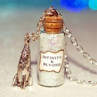 Wholesale Rocket Necklace - 12pcs & Beyond Necklace with Rocket Charm bottle necklace Buzz Lightyear necklace in silver