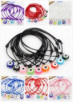 Wholesale Waxed Cord Adjustable Bracelet - Free Ship 100pcs Mixed String Evil Eye Lucky Red wax Cord Adjustable Bracelet