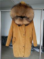 Wholesale Coat Fur Army Green - OFTBUY 2017 new Winter jacket coat women parka Corduroy fur coat Big real raccoon fur collar Real natural Warm Lamb fur liner