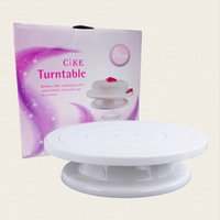 Wholesale Cake Rotating Stand - 10inch 28cm Kitchen Cake Decorating Icing Rotating Turntable Cake Stand White Plastic Fondant Baking Tool DIY