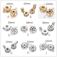 Wholesale 12mm Pendant - Noosa 12mm 18mm Snap Button Base Charms Pendant For Snap Button Necklaces And Bracelets DIY Ginger Snaps Jewelry
