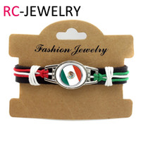 Wholesale mexico silver jewelry - 18# 6pcs lot! mexico Flag Bracelet Genuine Leather Adjustable Bracelet Wristband Cuff 12mm Leather Snap Button Charm Jewelry
