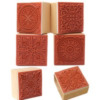 Wholesale Lace Rubber Stamp - Wholesale- PHFU 6 Assorted Wooden Stamp Rubber Seal Square Handwriting DIY Craft Flower Lace