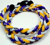 cuerda trenzada blanca amarilla al por mayor-Promoción Béisbol Deportes Titanio 3 Cuerda Trenzado Blanco Púrpura Amarillo GE Collar RT094