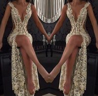 Wholesale full tulle dress online - 2018 Champagne Sexy Prom Party Dresses Plunging V Neck High Split Full Lace Beading Side Cutaway Backless Evening Celebrity Dress