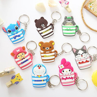 Wholesale Minion Items - New Cartoon Keychain With Bells Action Figures in Cup Key Ring Minions Mickey Hello Kitty Holder Key Chains Finder Gifts Item