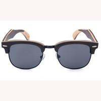 Wholesale bamboo wooden shades - 2018 youny people mirror lens yiwu premium half-frame sunglasses print handmade natural wood bamboo fashion eye Sun Shades