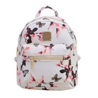 Wholesale girl small mini leather bag - 2017 Fashion Women Floral Printing Leather Backpack School Bags for Teenage Girls Lady Travel Small Backpacks Mochila Feminina