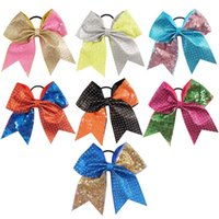 Wholesale fixing hair color - 7 inch Glitter Cheer Bows Handmade Sequin Hot Fix Rhinstone Patchwork Bow with Ponytail Hair Holders for Cheerleading Girls