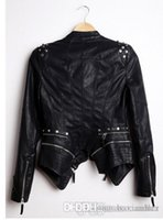 Wholesale Womens Leather Studded Jacket - Wholesale-New Womens Punk Spike Studded Shoulder PU Leather Jacket Zipper Coat PIUS Size S-4XL