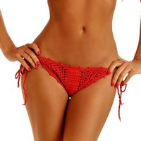 Wholesale Crochet Thongs - Hand Crochet Knitted Shorts Summer Brazilian Sexy Bikini Bottoms Thong Underwear Seaside Vacation Personality Casual Panties Swimwear