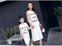 Wholesale Korean Mother Daughter Dress - mother and daughter clothes summer dresses korean style fashion letter pattern sleeveless cotton kids girls skirt