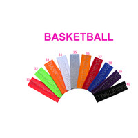 "Wholesale Wholesale Basketball Bling - 2 inch Rhinestone ""BASKETBALL"" Cotton Stretch Headbands Softball Crystal Bling Elastic Hairband Sweat Hair Accessories"