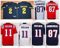 Wholesale Gronkowski Jersey White - Arizona State Sun Devils #2 Bercovici American College Football Stitched Embroidery Elite #87 Rob Gronkowski 11 Edelman Mens Sports Jerseys