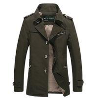 Wholesale Brown Men S Trench Coat - Wholesale- Autumn Winter Jacket Men's Design Veste Homme Formal Suit Coats Solid Cotton Brand Clothing M-5XL Trench Jackets For Men D0207