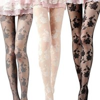 Wholesale Women See Through Pantyhose - Wholesale- Women Fashion Rose Pattern Tight Lace Pantyhose Sexy See-through Stockings Store 51