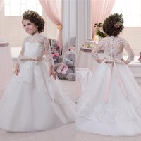 Wholesale wedding dress transparent cap sleeves for sale - Cute Little Flower Girl Dresses High Neck Appliques White Long Transparent Sleeve Ball Gown Little Girls Holy First Christmas Dresses