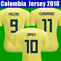 Wholesale Colombia Shorts - Top thailand National JAMES 10 COLOMBIA soccer jerseys 2018 World Cup Jersey FALCAO CUADRADO BACCA Football soccer shirt camisetas maillot