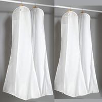 ingrosso copertina di nozze bianca-Sacchetto di polvere bianca non tessuta spessa per abito da sera abito da sera borse 180 * 70 * 25 cm coperchio di abbigliamento custodia da viaggio coperture antipolvere