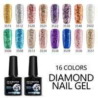 Wholesale Glitter Nail Varnish - Modelones Blue Color Glitter UV Nail Gel Polish Shiny Color Diamond Nail Gel Varnish Long Lasting Sequins Nail Gel