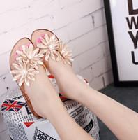 Wholesale Women S Flip Flops - Women 's Crystal Flip Flops Shoes Camellia Flower Chrysanthemum Shadows Shoe Sands Summer New Free Shipping
